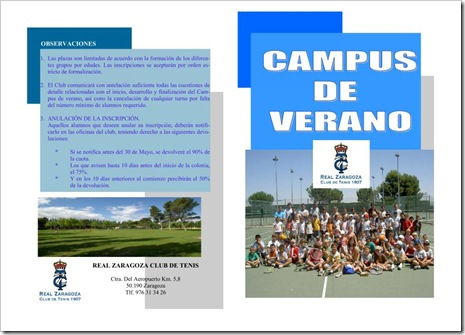 Campus Verano 2010 Real Zaragoza Club Tenis 1