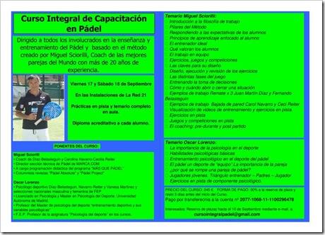 Curso Integral Capacitacion Padel Miguel Sciorilli Sevilla 2010 Programa