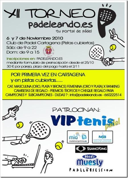 XII Torneo Padel PADELEANDO en Cartagena, noviembre 2010