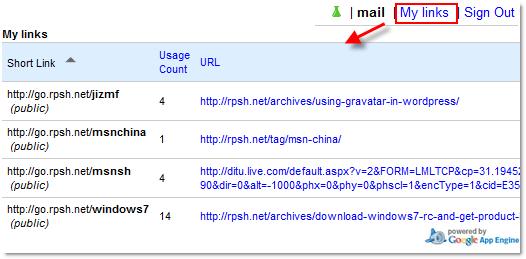 My Links:使用此工具缩短的网址