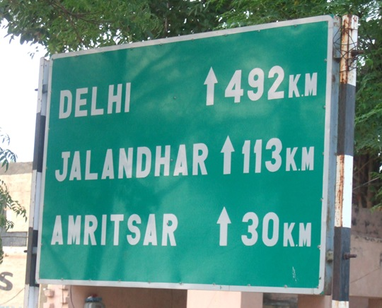 Distances from Wagah Border