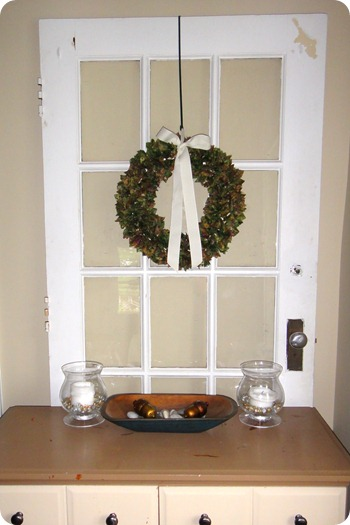 My fabric wreath hanging in my dining room.