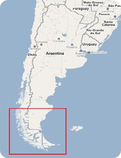 Cone Sul da América do Sul com destaque para área da Patagônia Austral vista em zoom no mapa ao lado