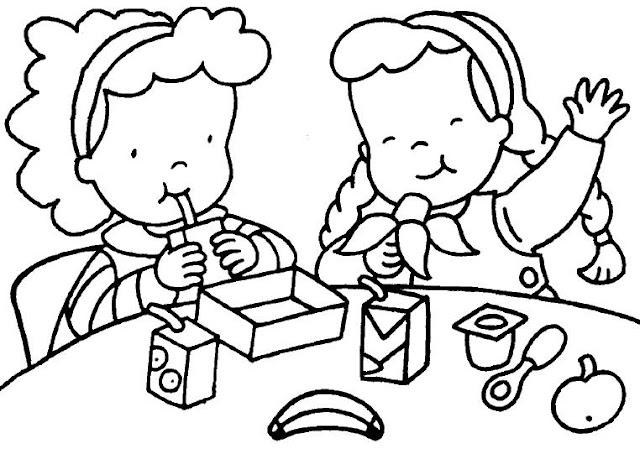 Dibujos del aula para pintar y colorear for Dibujo de comedor escolar