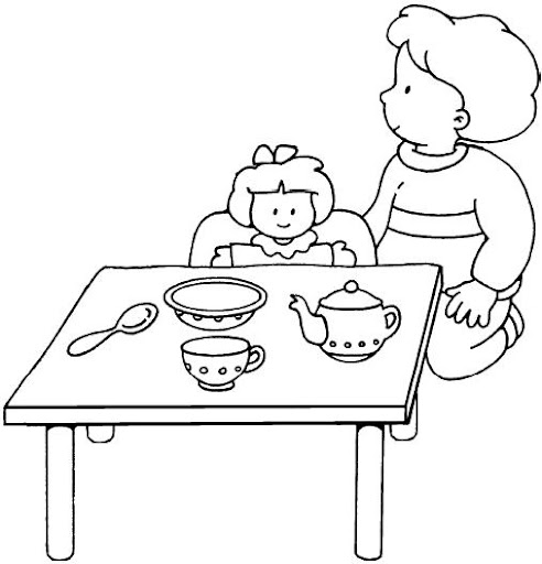 Dibujos del aula para pintar y colorear for Cocina dibujo