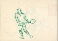 Schizzo preparatorio copiato da foto (Panatta?) per il logotipo del tennista, strada realistica poi abbandonata. 1979, matita colorata su carta