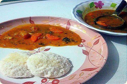 Carrot sambhar 2