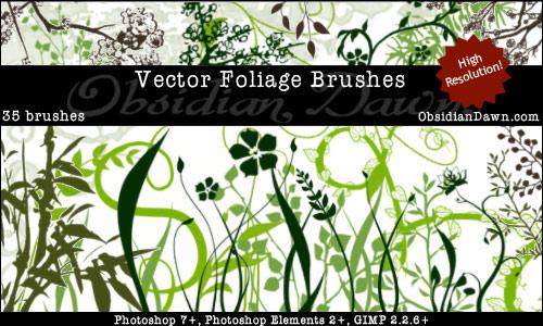 Vector Foliage Photoshop & GIMP Brushes