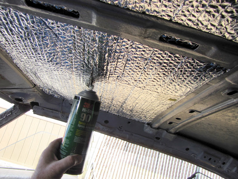 Upgrade the ceiling insulation before the headliner goes for Space headliner