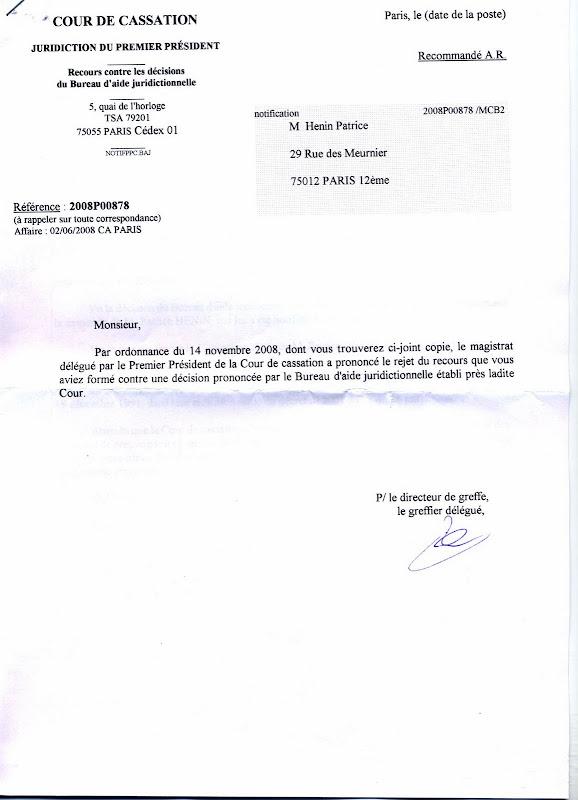038 Rejet dfinitif aide juridictionnelle cassation PHNIx