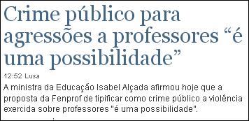 """Crime público para agressões a professores """"é uma possibilidade"""""""