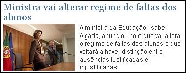 Ministra vai alterar regime de faltas dos alunos