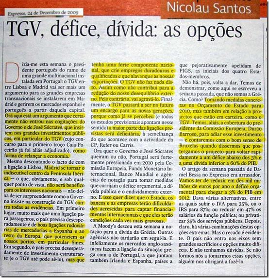 Nicolau Santos - TGV, défice, dívida: as opções