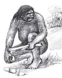 Неандерталец с палкой-копалкой