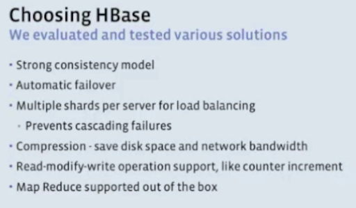 Choosing HBase at Facebook