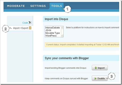 enable DISQUS sync with blogger