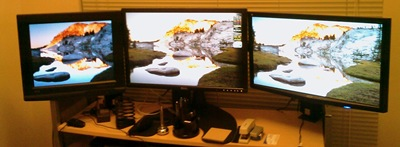 triple monitor lcd desk stand