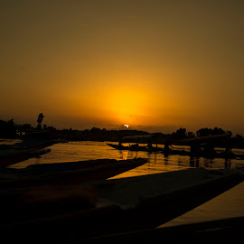 Golden sunset at Dal Lake by Rishabh Asthana - Landscapes Travel ( waterscape, sunset, boats, lake, landscape )