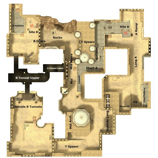 JA's Counter Strike Blog: De_Dust2 Map Locations on