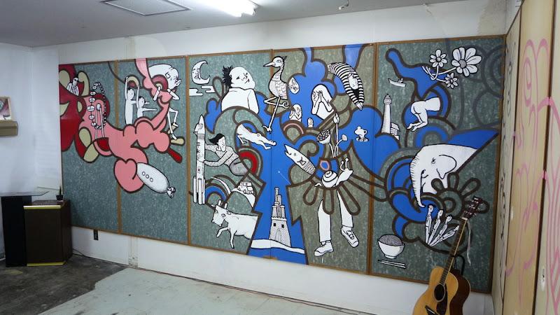 ショーヘイ, ユカリ, 稲口マンゾ, kow, love-is-action, mural, wall-painting, 壁画