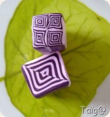 Cane losange violets après réduction