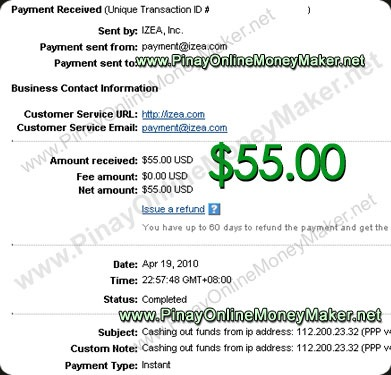 PayPerPost Proof $55.00 on 04/19/2010