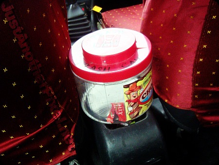 Trash can inside an ABC taxi, Manila, Philippines - Their action towards the Anti-Littering law - JustAnotherPixel.net