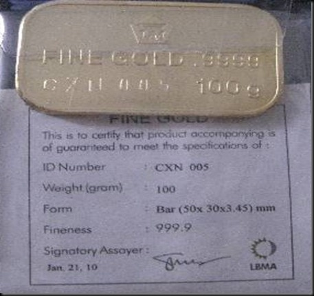 A piece of 100 gr Logam Mulia from Antam Gold