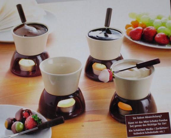 mini schoko fondue set braun beige 12 tlg neu ebay. Black Bedroom Furniture Sets. Home Design Ideas
