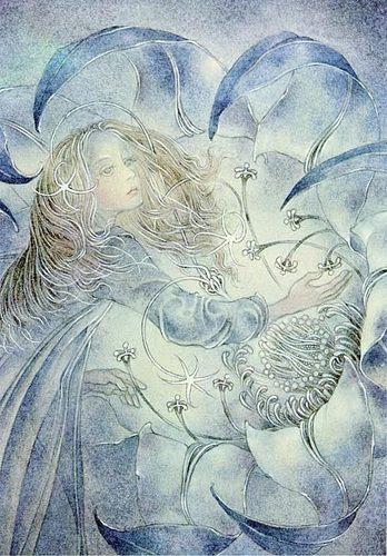 نقاشی سولامیت وولفینگ دخترک مو گیسو طلایی گلبرگ آبی فیروزه ای پرچم سفید باد نسیم ملایم آبرنگ