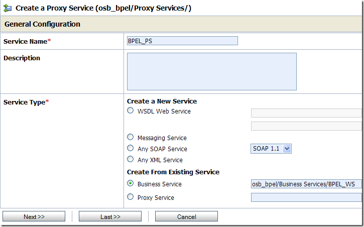 Creating the BPEL Proxy Service