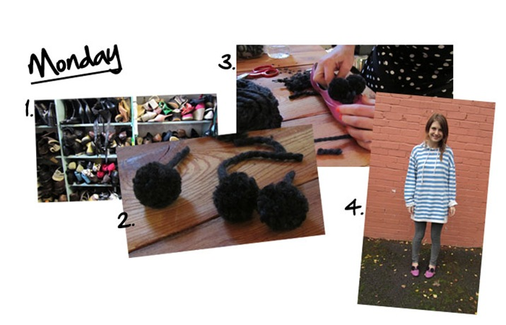 'I can make shoes' Monday diary entry - Amands makes Pom Pom's