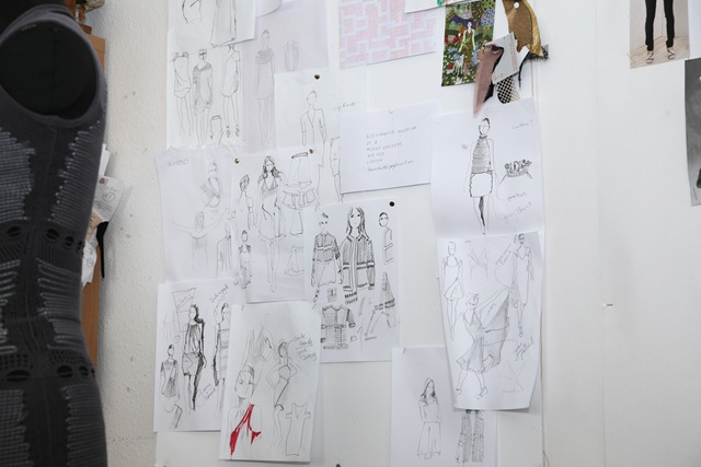 Alice Lee Designs and sketches pinned up on the wall