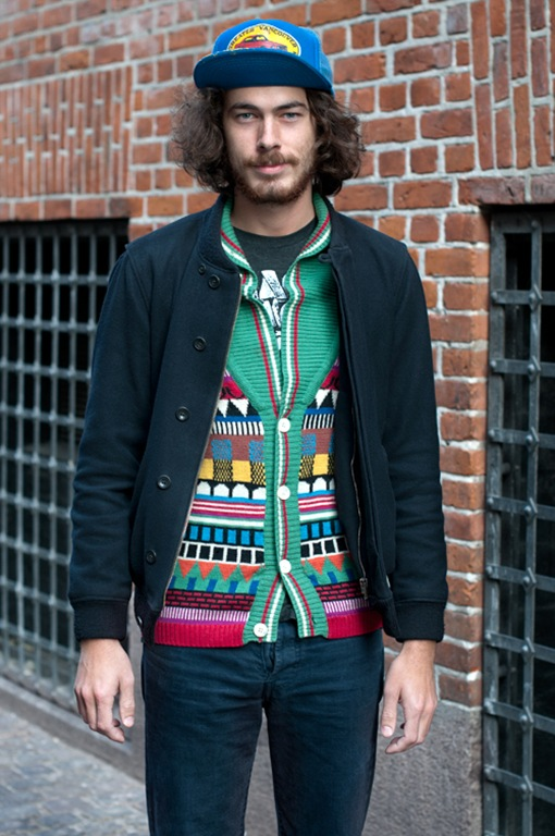 Copenhagen Street Style Image of a man in a colourful cardigan