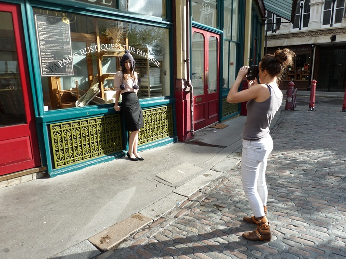 Amy Hall photographs her 'Beaver' hat in a ASOS Marketplace street style shoot.