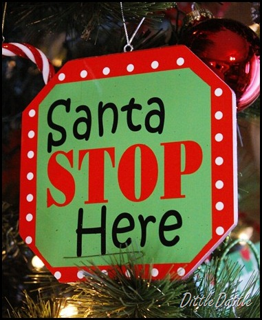 santa stop here ornament