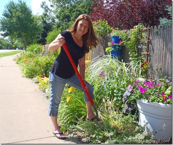 Shawna Coronado digging in her community garden