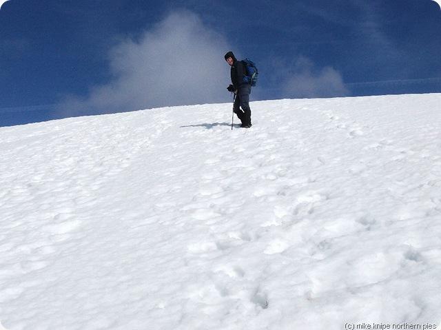 martin climbing the snow slope