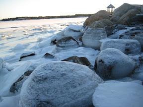 Winter coastline at Oak Island Resort in Nova Scotia Canada