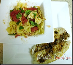 Tilapia with Balsamic Brown Butter and Creamy Farfalle with Bacon, Tomato and Peas Krista Kooks