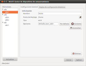 Automontaje de particiones con interfaz grfico en Ubuntu