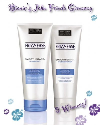 Enter to win the John Frieda Smooth Start hair care giveaway at the Bionic Beauty blog!