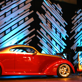 Car on Stage by Brianne Cronenwett - Transportation Automobiles ( car, lights, red, blue, automobile, drums, stage, instruments, custom car, , mood factory, color, lighting, moods, colorful, light, bulbs, mood-lites )