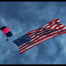 Old Glory!!   by Dale Carney - News & Events Entertainment ( sky diver, american flag, fun, air show )