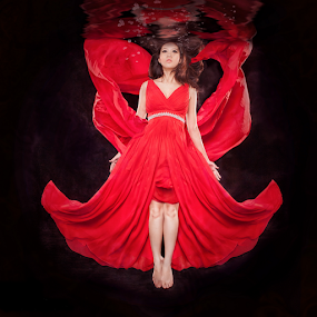 Drowned by Danny Tan - People Portraits of Women ( water, emo, red, portrait, drown )