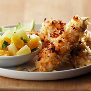 Coconut Chicken with Pineapple-Mango Salsa