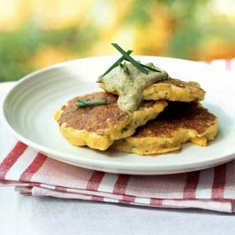 Cheddar Corn Cakes With Green Onion Sour Cream Recipe — Dishmaps