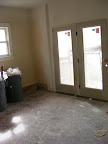 Family room with carpet removed and texture
