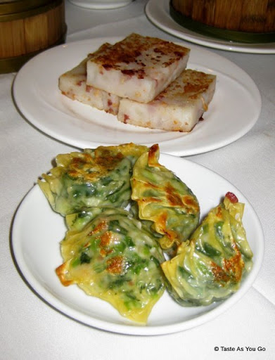 Rice Cakes and Fried Vegetable Dumplings at Jing Fong Restaurant - Photo by Taste As You Go