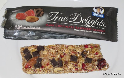 Quaker True Delights - Dark Chocolate Raspberry Almond Bar - Photo by Taste As You Go